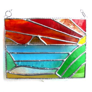 sunset sea view suncatcher stained glass