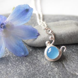 Silver and chalcedony necklace by Thistledown Wishes