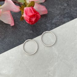 Silver circle small Front Facing Hoopstud earrings