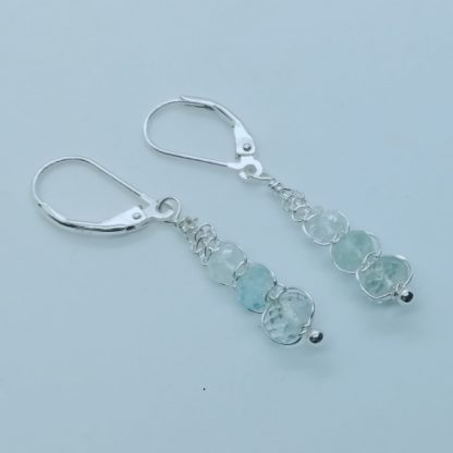 Aquamarine drop Earrings Sterling Silver white background