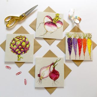 Vegetable Greetings Cards Multipack Artichoke Turnip Carrots Onions