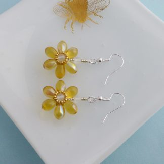 Yellow Blossom Flower Earrings