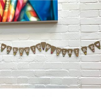 bunting with hand sewn buttons choose your own words archie&claire