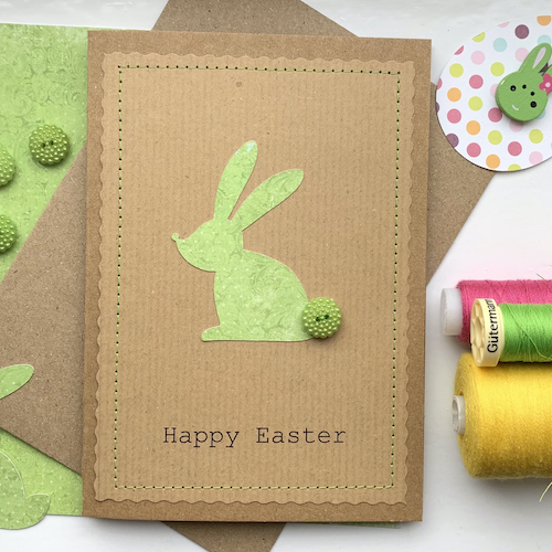 easter bunny with button tail in green