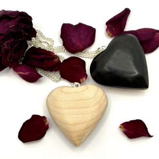 ebony and maple wooden heart necklace