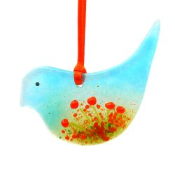 Fused glass bird light catcher with orange flowers