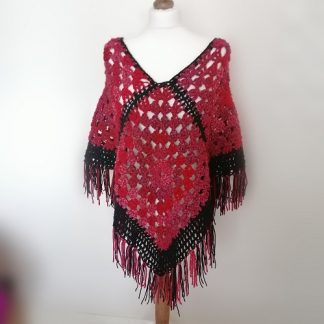 granny square poncho in reds and black