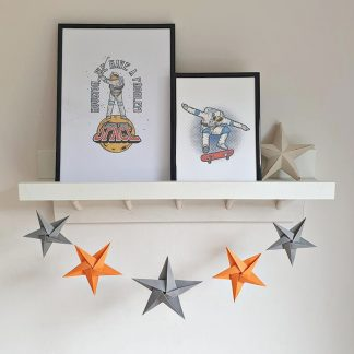 grey and orange origami stars garland room decoration