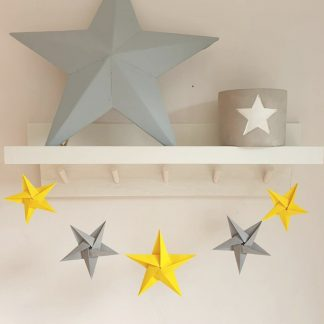 grey and yellow origami paper stars decoration garland