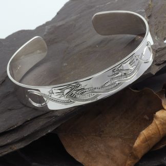 Hand Engraved Celtic Dragon Silver Cuff Bangle