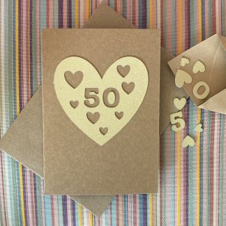 heart anniversary or birthday card 50 gold with confetti