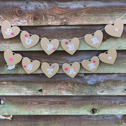 heart bunting pink with hand sewn buttons