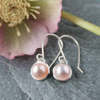 Long pink pearl earrings by Thistledown Wishes