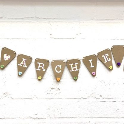 mini bunting with buttons close up archie