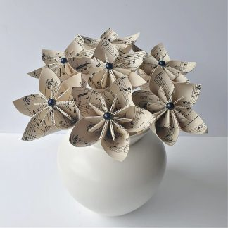 origami paper flowers bouquet made from vintage music sheets