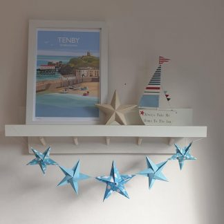 origami star garland blue seashell beach theme