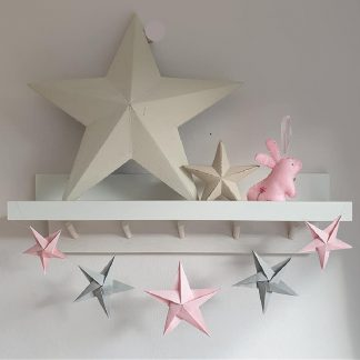 origami stars garland pink and grey stars