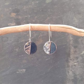 recycled copper earrings with texture created using watch parts made by anthea yeo metal art