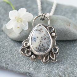 silver botanical necklace with dendrite
