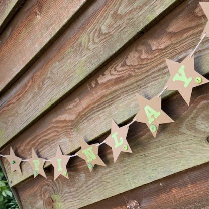 star bunting with hand sewn buttons finlay green