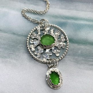 Green sea glass and silver pendant necklace