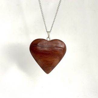 two tone solid wooden heart necklace