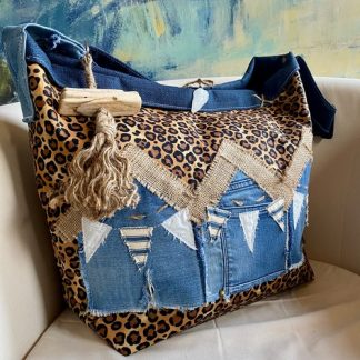 Animal Print and Denim Beach bag