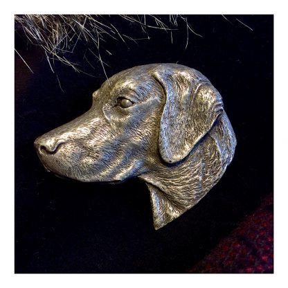 Highly detailed Brooch showing a Labrador Head made in cold cast Pewter