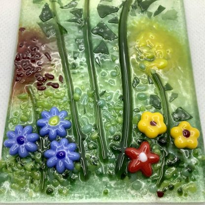 Fused glass flowers detail