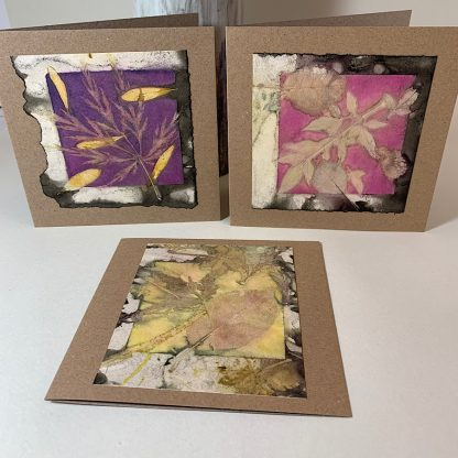 Three greeting cards with leaf design