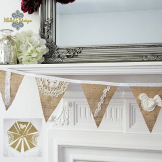 Hessian bunting with bird and lace MollyG Designs