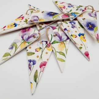 Pansy and Viola Wooden Bunting