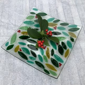 Green leaf and red Berry fused glass platter