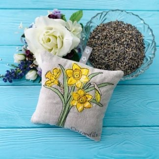 daffodil lavender bag with bowl of lavender