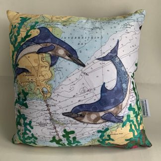 Dolphins at the Firth of Forth cushion by Hannah Wisdom Textiles