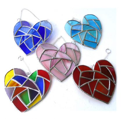 fat patchwork heart stained glass suncatcher