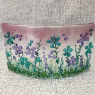 Fused Glass Floral Curve in Pink and Aqua, hand painted and textured glass detail