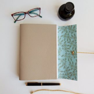 Golden Fern Journal, A5 bound in Stone Leather, Mallory Journals