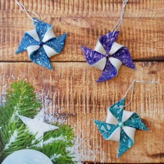 Colourful Pinwheel Christmas Decorations handmade from polymer clay