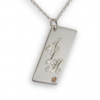 Hand Engraved Silver Necklace Initials on Front