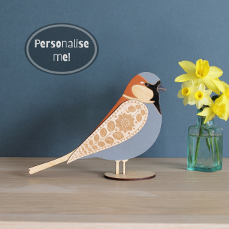 wooden standing sparrow decoration hand painted