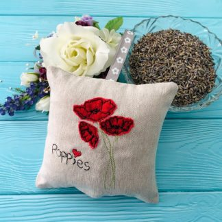 Poppy Lavender bag with bowl of lavender