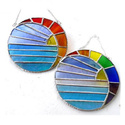 Rainbow sunset sea moon crescent stained glass