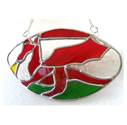 Welsh dragon rugby ball suncatcher handmade stained glass