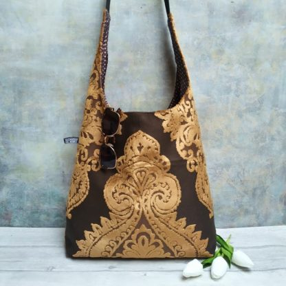 Chenille damask large hobo bag in bronze and brown and lined with silk