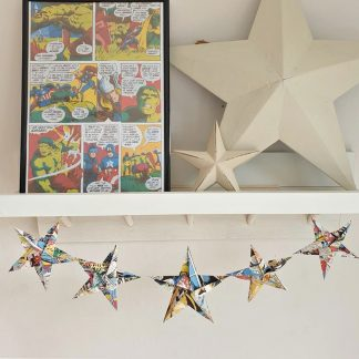 comic book origami stars for boys room and gift for him