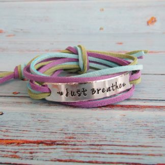 just breathe hand stamped faux suede wrap bracelet