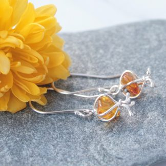 Long amber earrings by Thistledown Wishes