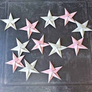 origami stars decoration garland in pink and grey