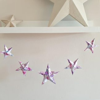 origami stars garland bunting in floral pink and mauve (